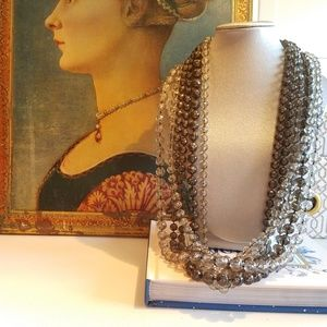 Black and Gray Bead Multi Strand Vintage Necklace
